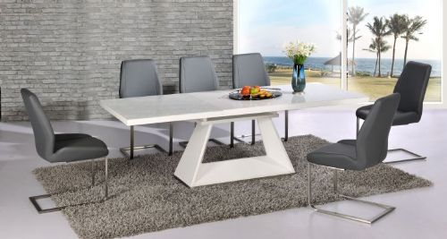 Silvano  Extending White High Gloss Contemporary Dining Table & Dalia Grey Dining Chairs